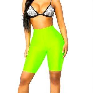 Fashion Nova Biker Shorts - Neon Green